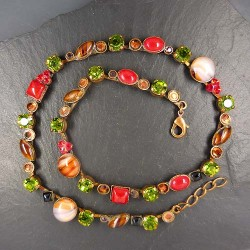 Halskette Miracolo Rot - Grün
