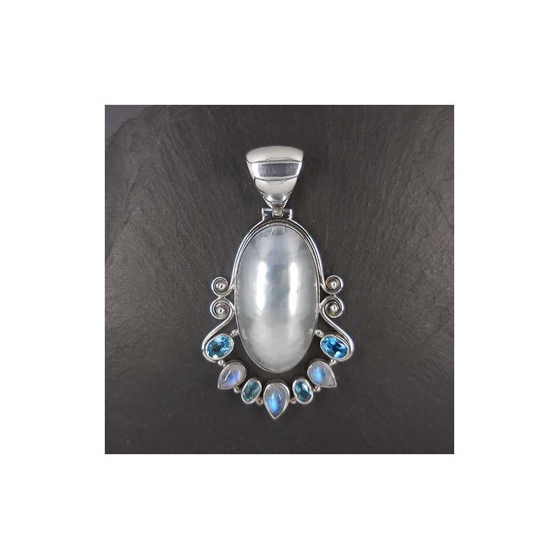 Mabe Perlenanhänger mit Mondstein und Blautopas