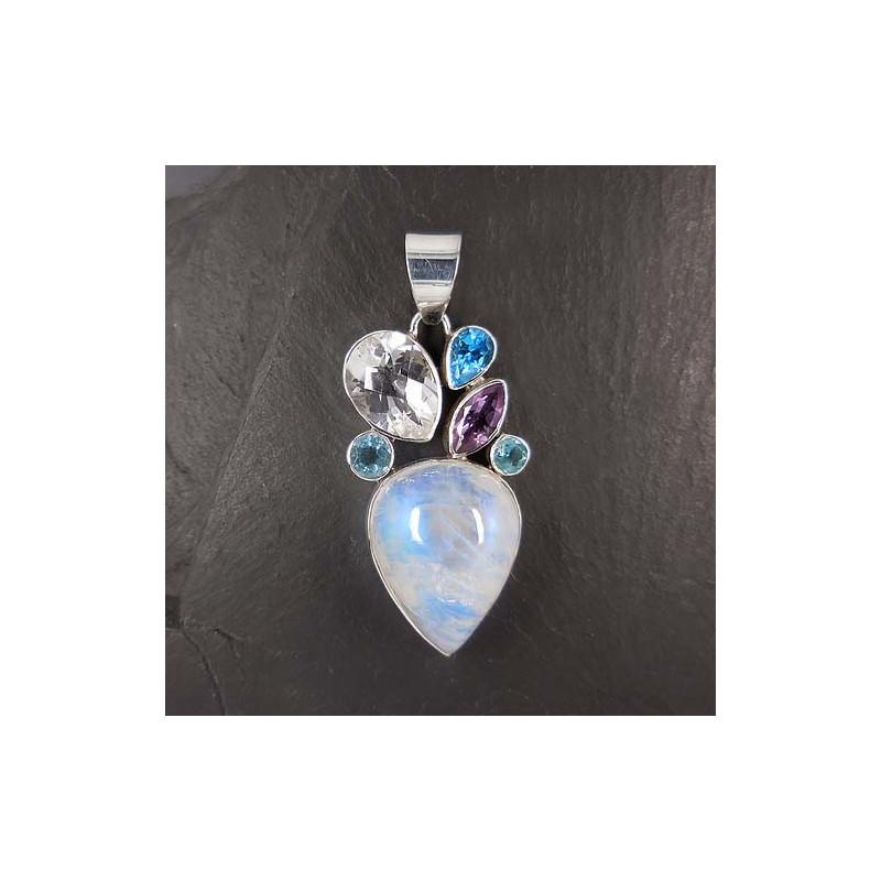 Mondsteinanhänger mit Blautopas, Bergkristall und Amethyst