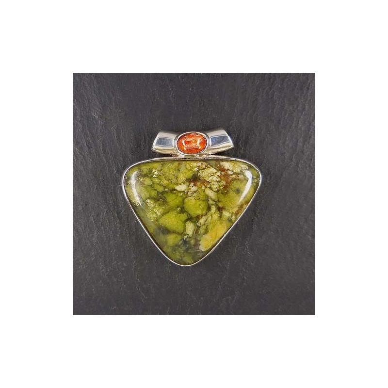 Canadische Jade Anhänger mit Sonnenstein (s9)