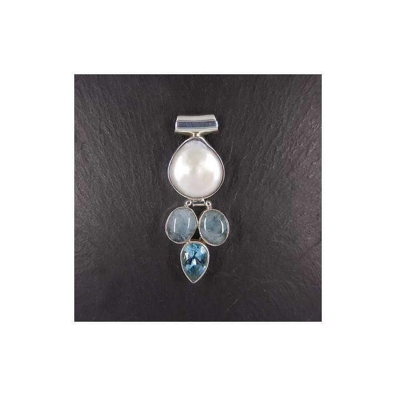 Perlenanhänger mit Aquamarin und Blautopas