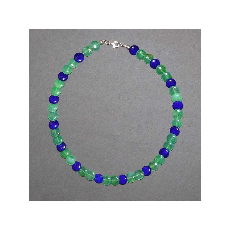 Chrysopraskette mit Lapis Lazuli