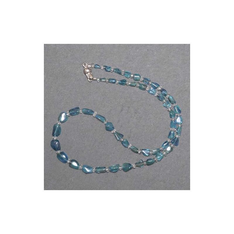 Aquamarinkette mit Bergkristall