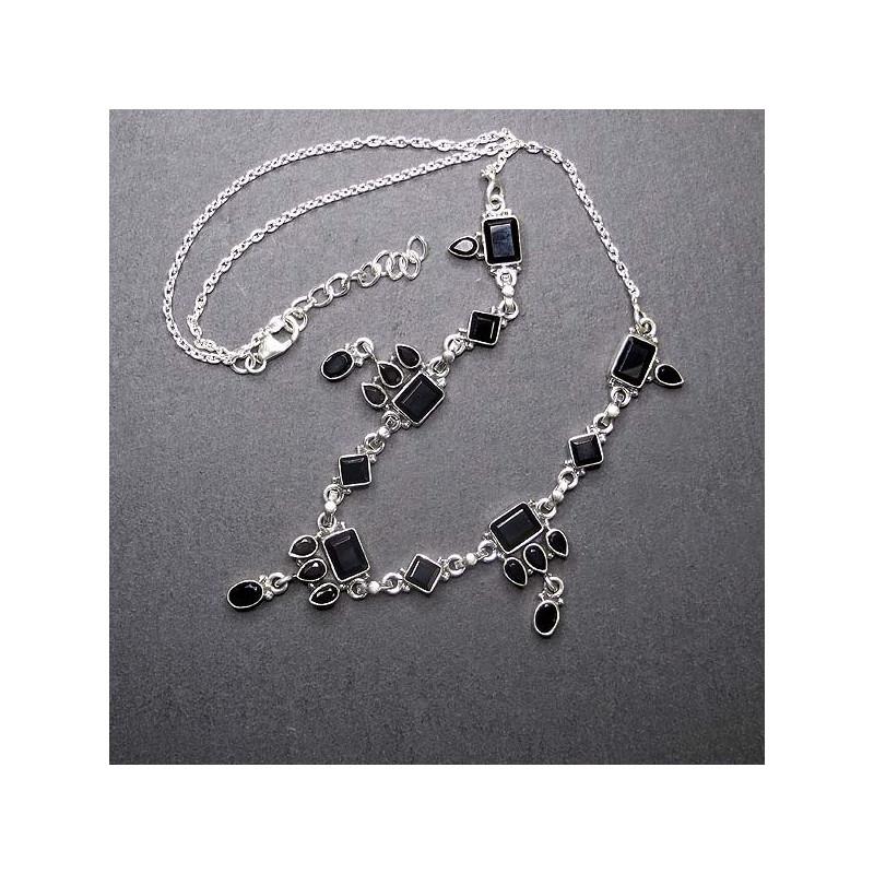 Silbercollier mit Onyx