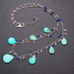 Silbercollier mit Türkis und Lapis Lazuli