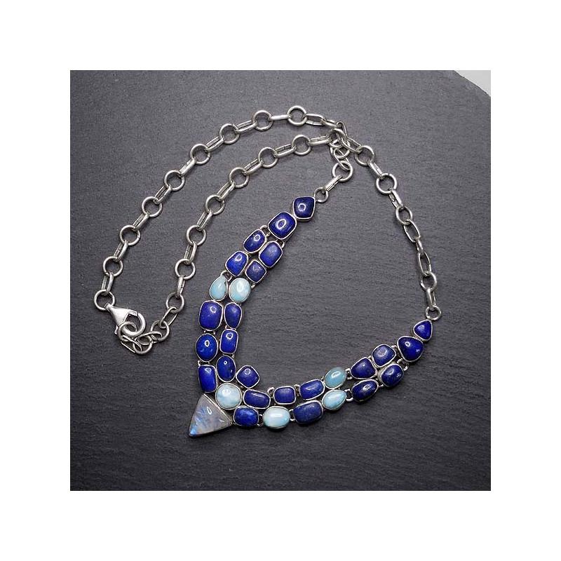 Lapis Lazuli Collier mit Larimar und Mondstein