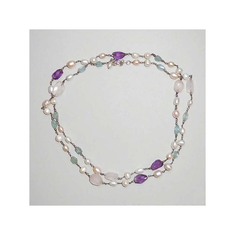 Perlencollier mit Aquamarin, Amethyst und Rosenquarz