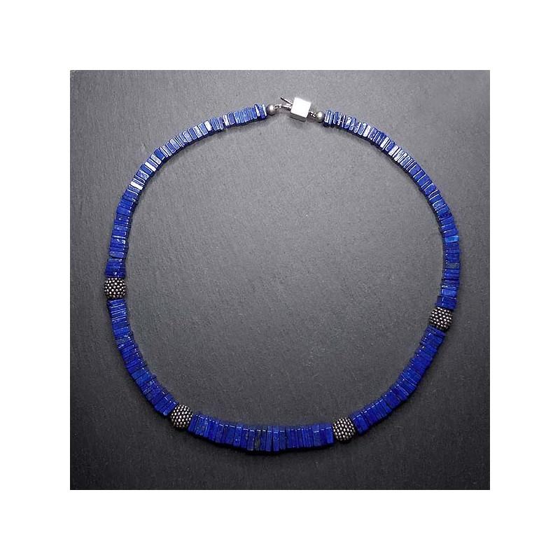Lapis Lazuli Kette mit Silberperlen