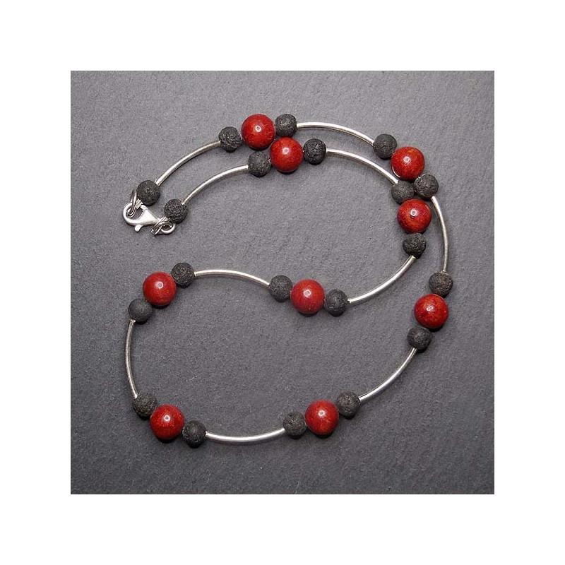 Schaumkorallenkette mit Lava und Silber