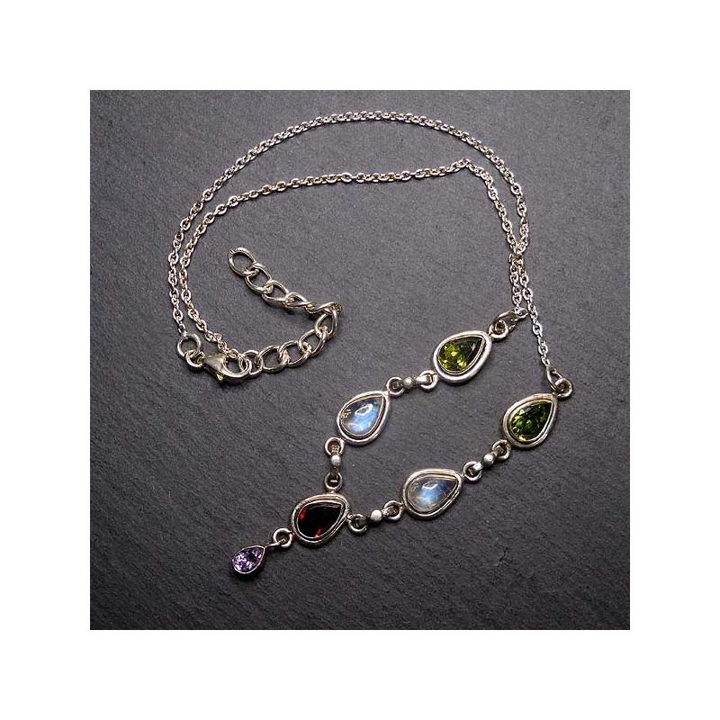Mondstein Collier mit Blautopas und Opal