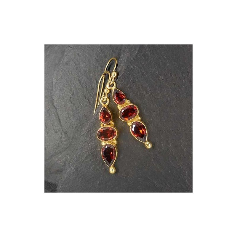 Granat Ohrringe mit 3 Steinen vergoldet