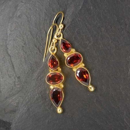 Granat Ohrringe vergoldet