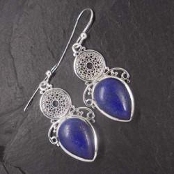 Lapis Lazuli Ohrringe mit Koralle