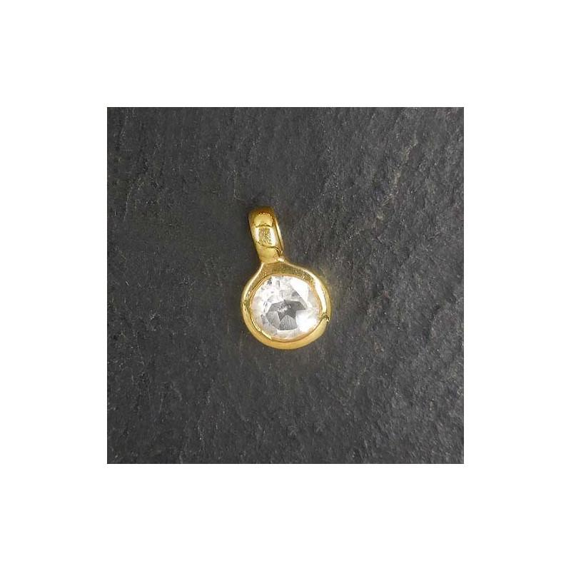 Bergkristall Anhänger Mini vergoldet