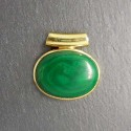 Malachit Anhänger vergoldet (S9)