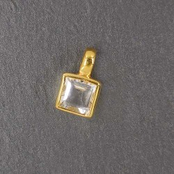 Bergkristall Anhänger eckig Mini vergoldet