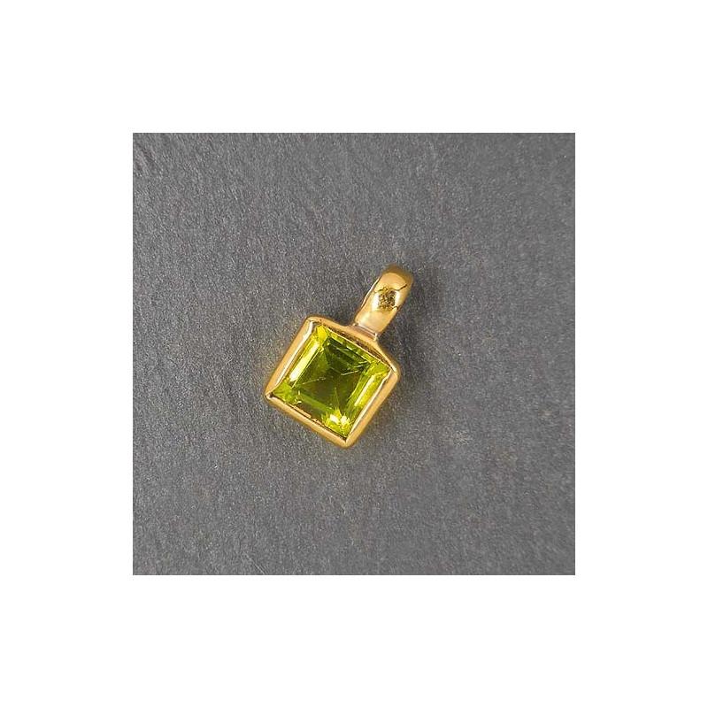 Peridot Anhänger eckig Mini vergoldet