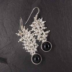 Onyx Ohrringe mit Silbertropfen