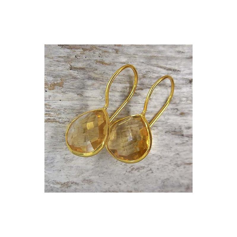 Citrin Ohrringe vergoldet