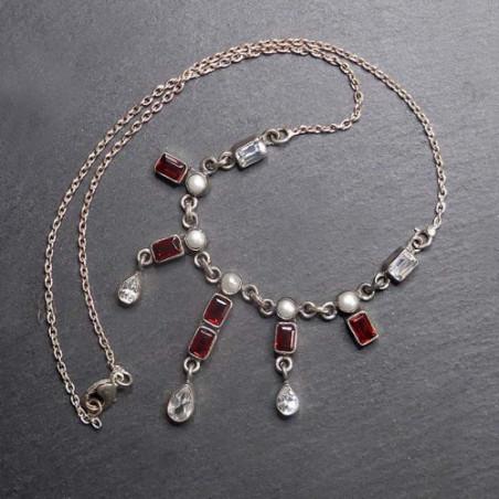 Granat Collier mit Perle und Zirkonia
