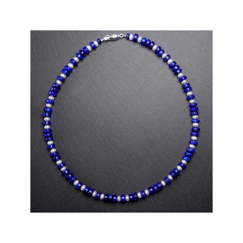 Lapis Lazuli Kette mit Korallen-, Türkis- und Silberperlen