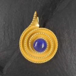 Lapis Lazuli Anhänger Schnecke vergoldet