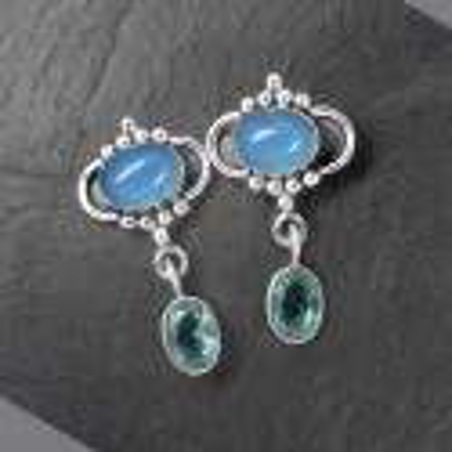 Calcit Ohrringe mit Blautopas