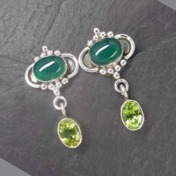 Grüne Achat Ohrringe mit Peridot