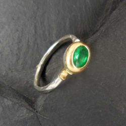 Smaragd Ring Silber mit Gold