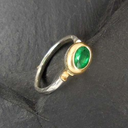 Smaragd Ring Silber mit Gold