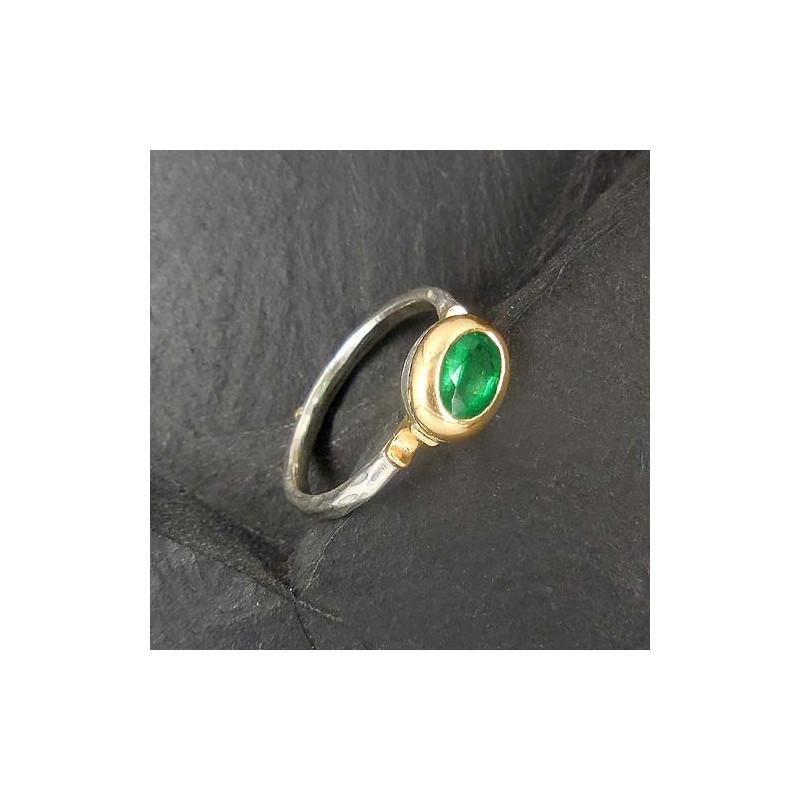 Prächtig Smaragd Ring Silber mit Gold - Silber-Steindesign &FZ_79