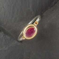 Rubin Ring Silber mit Gold