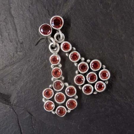 Granat Ohrringe Blume