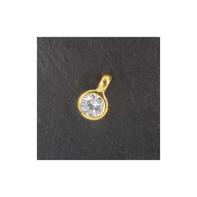 Zirkonia Anhänger Mini vergoldet
