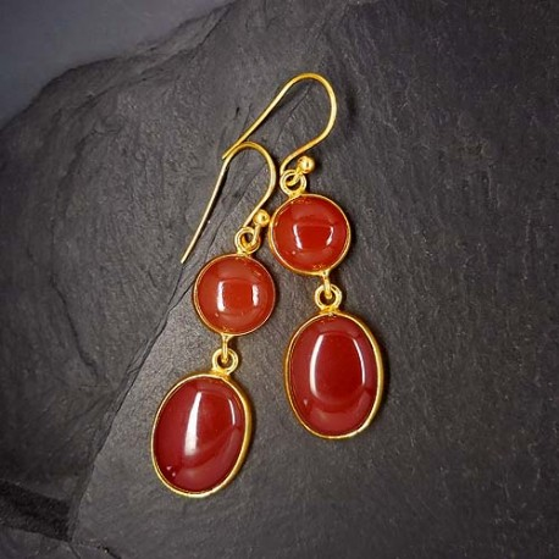 Karneol Ohrringe 2 Steine vergoldet
