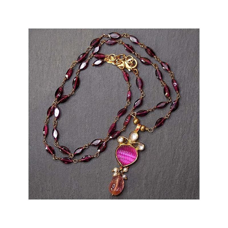 Granatkette mit rosa Turmalin Anhänger vergoldet
