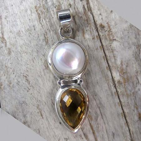 Citrin Anhänger mit Perle