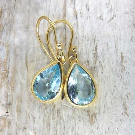 Blautopas Ohrringe vergoldet