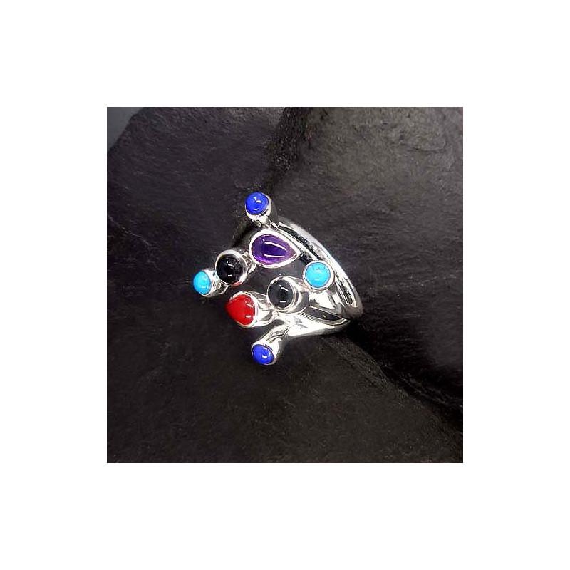 Türkis Ring mit Lapis Lazuli, Onyx, Amethyst und Karneol