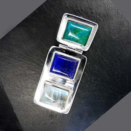 Mondsteinanhänger mit Lapis Lazuli und Chrysokoll