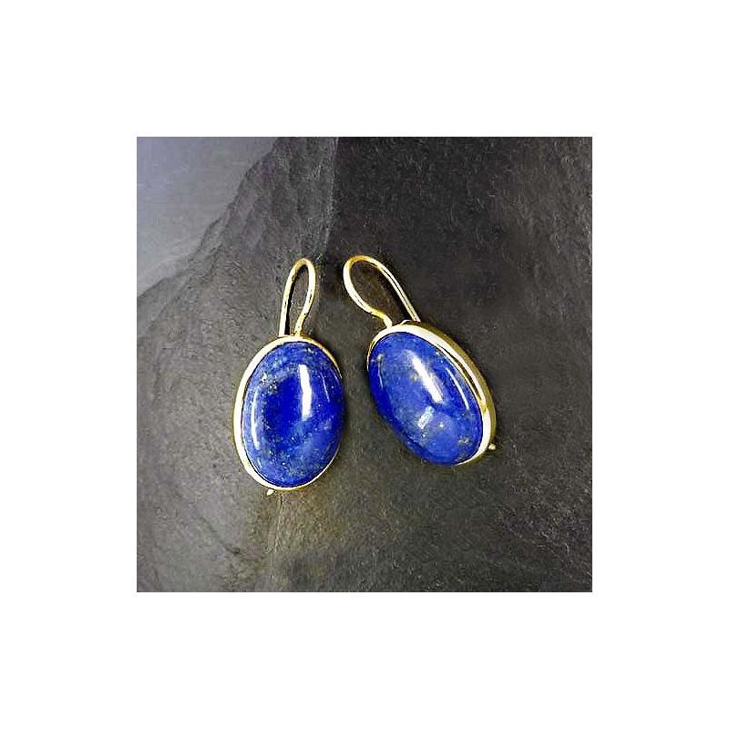 Lapis Lazuli Ohrringe Oval vergoldet