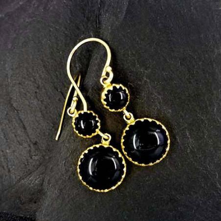 Onyx Ohrringe 2 Steine vergoldet