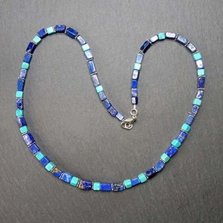 Türkiskette mit Lapis Lazuli und Silberperlen