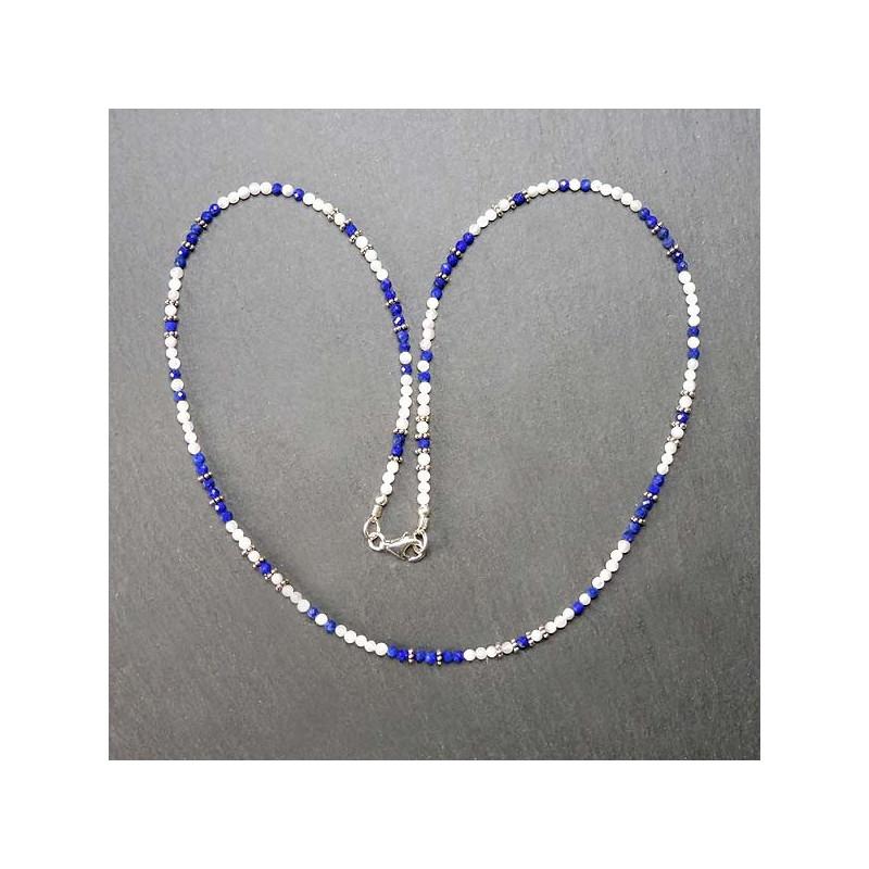 Lapis Lazuli Kette mit Perlmutt- und Silberperlen