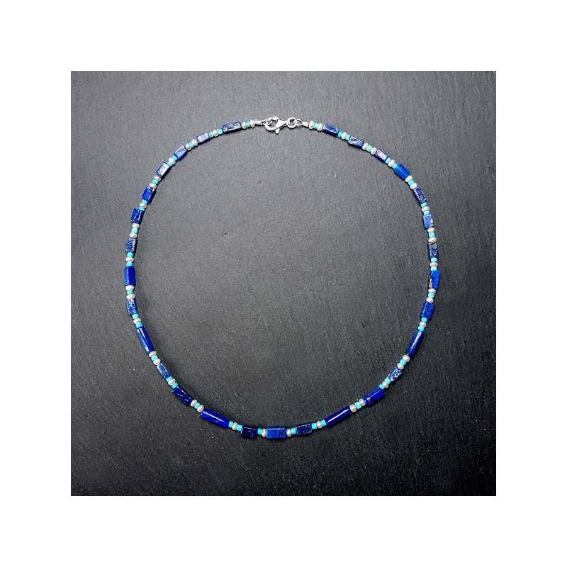 Lapis Lazuli Kette mit Türkis und Süßwasserperlen