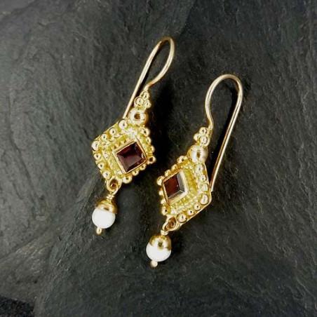 Granat Ohrringe mit Süßwasserperle Vergoldet