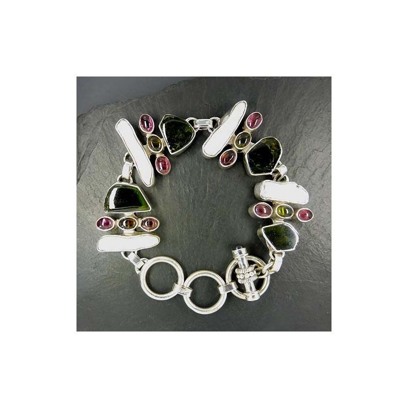 Turmalin Armband mit Perle