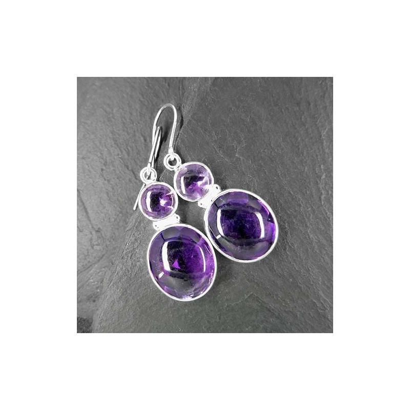 Amethyst Ohrringe mit 2 Steinen