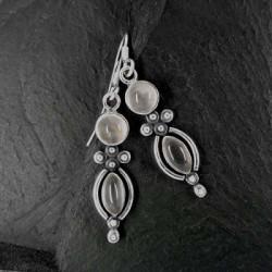 Rosenquarz Ohrringe mit 2 Steinen