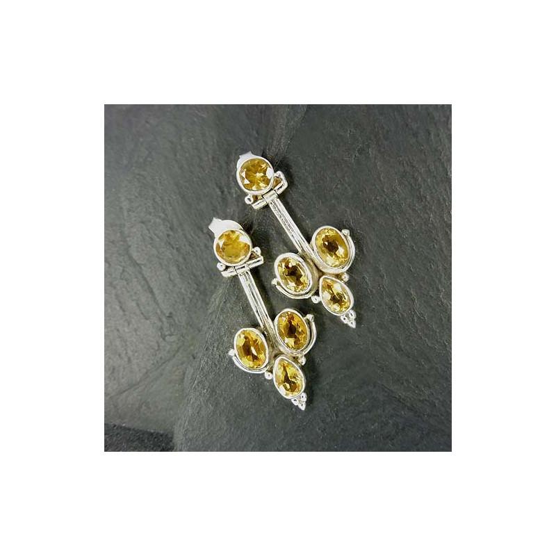 Citrin Ohrringe mit 4 Steinen